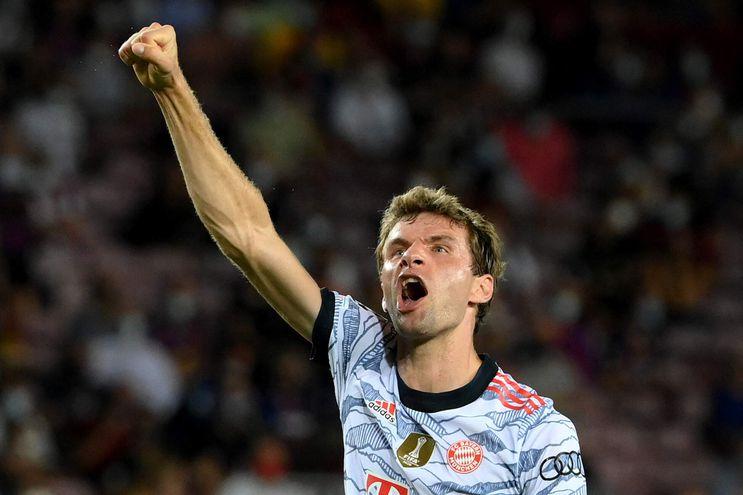 Thomas Müller (32 años) abrió con su tanto el camino de la victoria del Bayern Múnich sobre Barcelona en el Camp Nou por 3-0. AFP