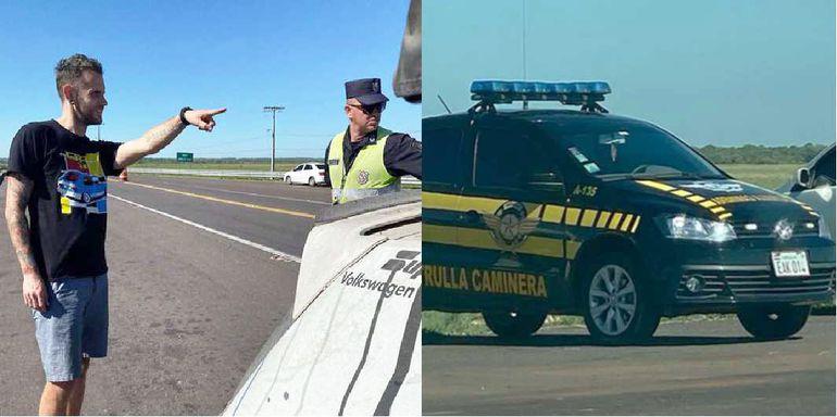 Estadounidense, apuntando la patrullera de la Caminera.