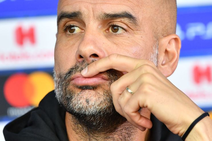 Pep Guardiola en una conferencia de prensa.