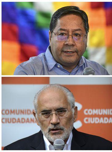 En la foto de arriba Luis Arce, candidato de Evo Morales; debajo, Carlos Mesa.