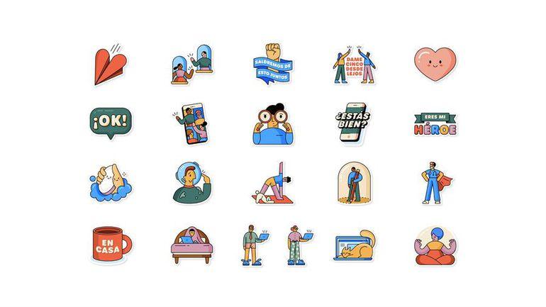 """El pack de stickers """"Together at Home"""" ya está disponible en WhatsApp e incluye texto traducido en 9 idiomas (árabe, francés, alemán, indonesio, italiano, portugués, ruso, español y turco)."""
