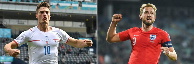 A combination of file pictures created on June 20, 2021 shows Czech Republic's forward Patrik Schick (L) in Glasgow on June 18, 2021 and England's forward Harry Kane in Sofia on October 14, 2019. - Czech Republic face England in their third and final UEFA EURO 2020 Group D football match at Wembley Stadium in London on June 22, 2021. (Photo by Paul ELLIS / POOL / AFP)