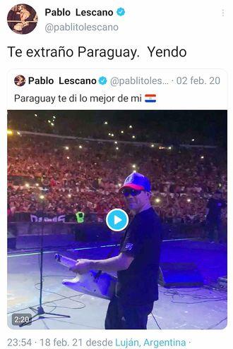Pablito Lescano tuiteó que venía a nuestro país.