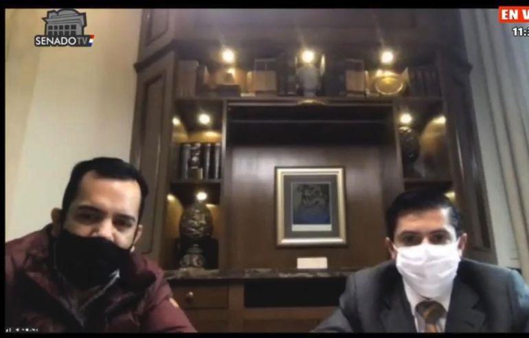El imputado senador Rodolfo Friedmann (ANR, Añetete) y su abogado Guillermo Duarte, durante la reunión virtual de la comisión  de Asuntos Constitucionales, ante la cual presentaron su defensa.