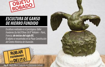 Quienes tengan información sobre la obra de arte extraviada pueden comunicarse a la Secretaría Nacional de Cultura (021) 442 515.