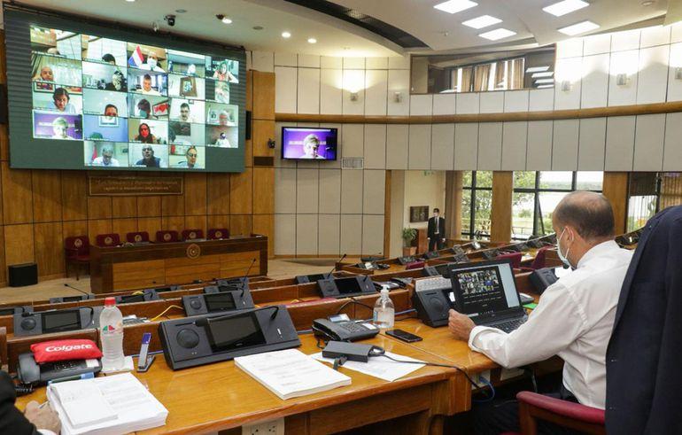 Sesión virtual de la Cámara de Senadores presidida por Óscar Salomón (ANR, Añetete).