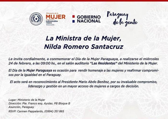 Invitación difundida por el Ministerio de la Mujer para la celebración por el Día de la Mujer Paraguaya. El homenajeado será el presidente Mario Abdo Benítez.
