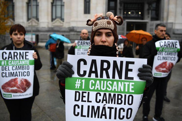 Activistas protestan en Madrid contra el negocio de la carne.
