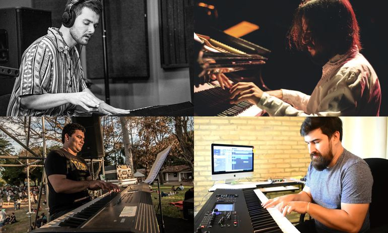 Arriba: Víctor Álvarez y Giovanni Primerano. Abajo: Magno Molinas y Víctor Scura. Ellos homenajearán hoy a Chick Corea.