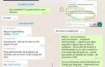 Mensajes intercambiados entre el titular de Aduanas y el senador Martín Arévalo.