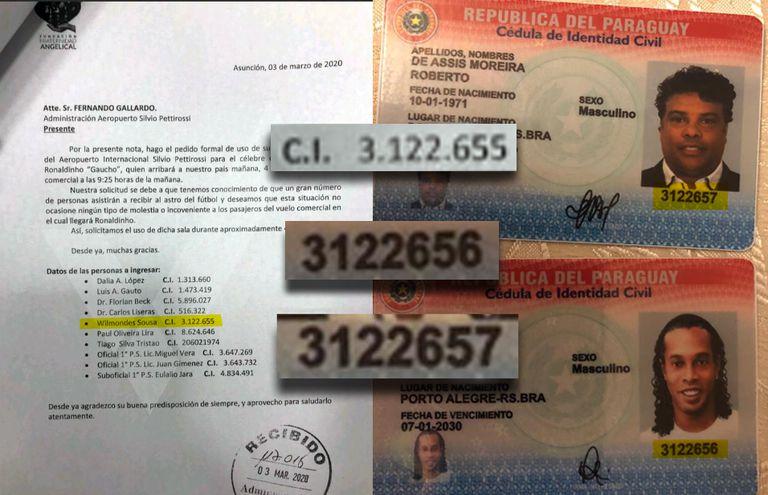 La numeración de las cédulas de Ronaldinho, su hermano y el empresario detenido es correlativa.