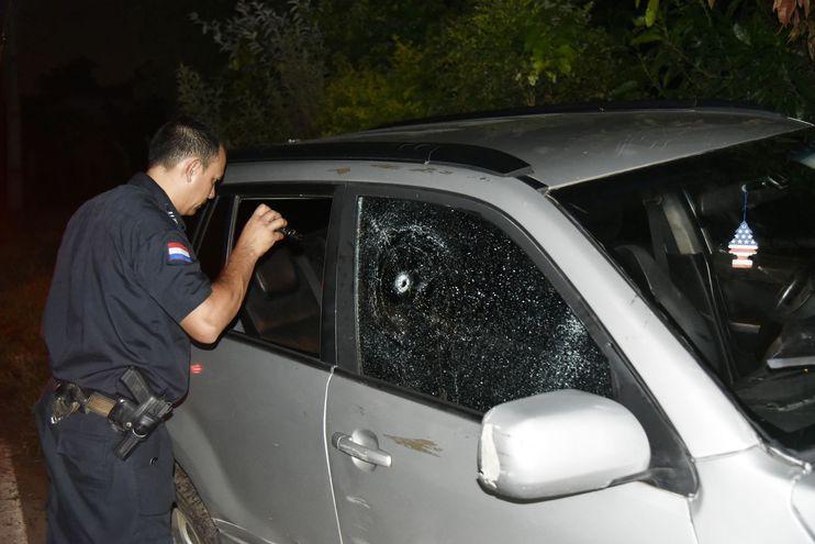 Camioneta en que iba la víctima junto con sus acompañantes.
