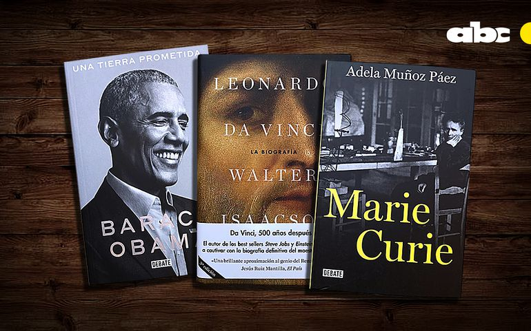Una tierra prometida, de Barack Obama; Da Vinci, la biografía, de Walter Isaacson y Marie Curie, de Adela Muñoz Páez.