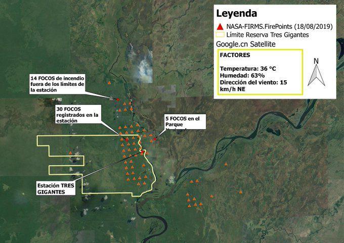 Imágenes satelitales de los focos de incendio en la reserva.
