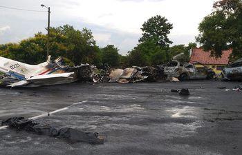 Esta es la escena en la base de la Fuerza Aérea, tras el accidente fatal que se registró el martes último en horas de la tarde.