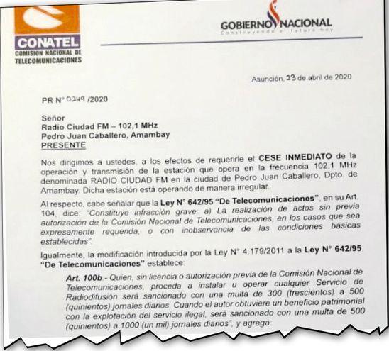 Nota de Conatel que ordena cierre de la radio de los Acevedo.