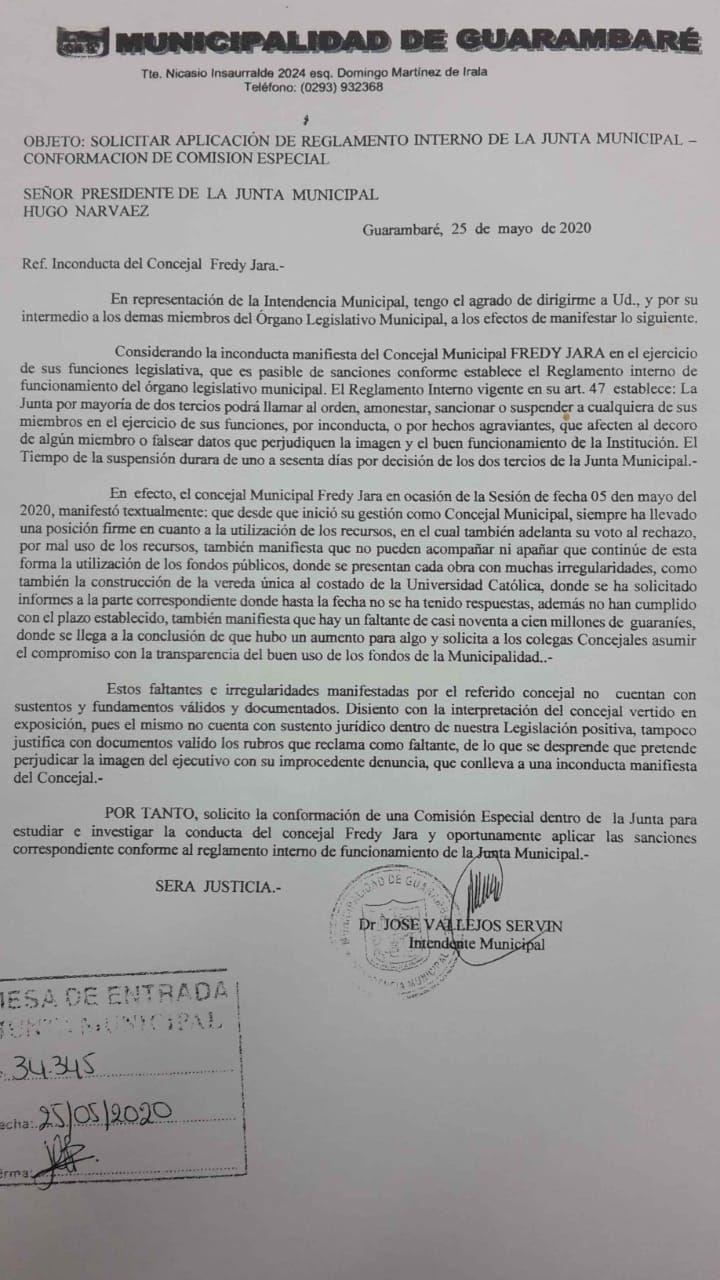 La nota presentada por el intendente para la conformación de una comisión especial y sancionar al concejal, Freddy Jara.