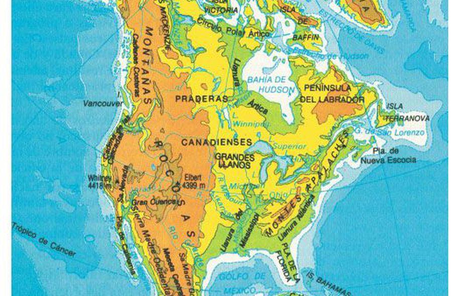 Orografía De América Del Norte Escolar Abc Color