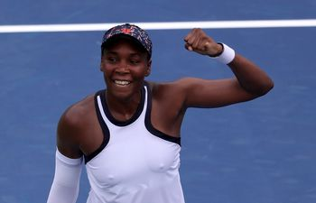 MASON, OHIO - AUGUST 13: Venus Williams of the United States celebrates match point over Kiki Bertens of the Netherlands during Day 4 of the Western and Southern Open at Lindner Family Tennis Center on August 13, 2019 in Mason, Ohio.   Rob Carr/Getty Images/AFP == FOR NEWSPAPERS, INTERNET, TELCOS & TELEVISION USE ONLY ==