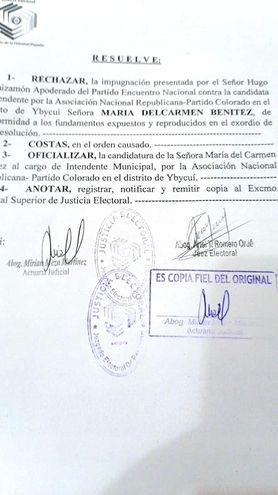 Juez Electoral Ariel Romero rechaza impugnación de la candidatura a la intendencia para el distrito de Ybycuí de María Del Carmen Benítez.