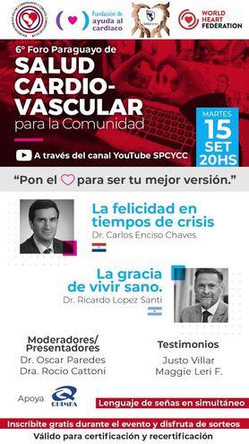 Afiche del 6º Foro Paraguayo de Salud Cardiovascular, para la comunidad.