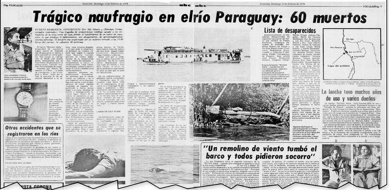 Las páginas 8 y 9 de ABC Color del domingo 12 de febrero de 1978. La crónica de los periodistas Ilde Silvero y Christian Torres, sobre la tragedia del barco Myriam Adela en Concepción.
