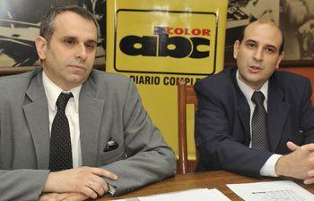 Cristian Daniel Kriskovich (izq.), actual miembro del Consejo de la Magistratura, junto a César Ruffinelli Buongermini, candidato a reemplazarlo.