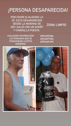 Piden reportar cualquier información sobre el señor Sergio Da Rosa,