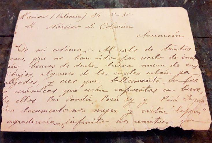 Carta de Josefina Plá a Rosicrán pidiéndole que traduzca Ñande Ypy Cuéra al español.