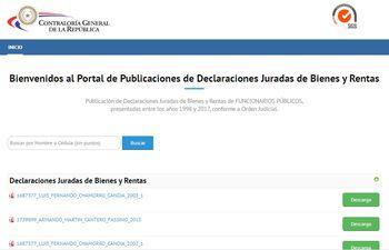 Casi 3.000 declaraciones juradas fueron publicadas ayer por la mañana en el portal digital de la Contraloría y durante los próximos 60 días irán subiendo más expedientes.