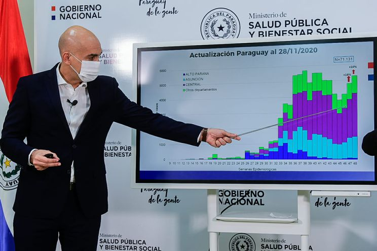 El ministro de Salud, Julio Mazzoleni, en su informe epidemiológico de cada semana.