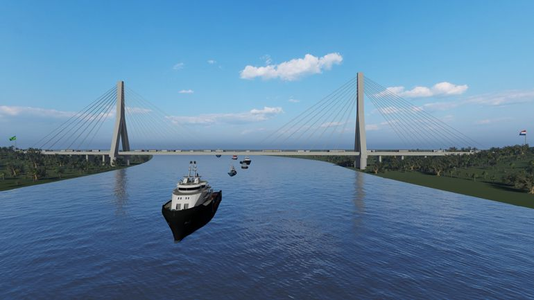 Maqueta de los que será el puente bioceánico, según el diseño final.