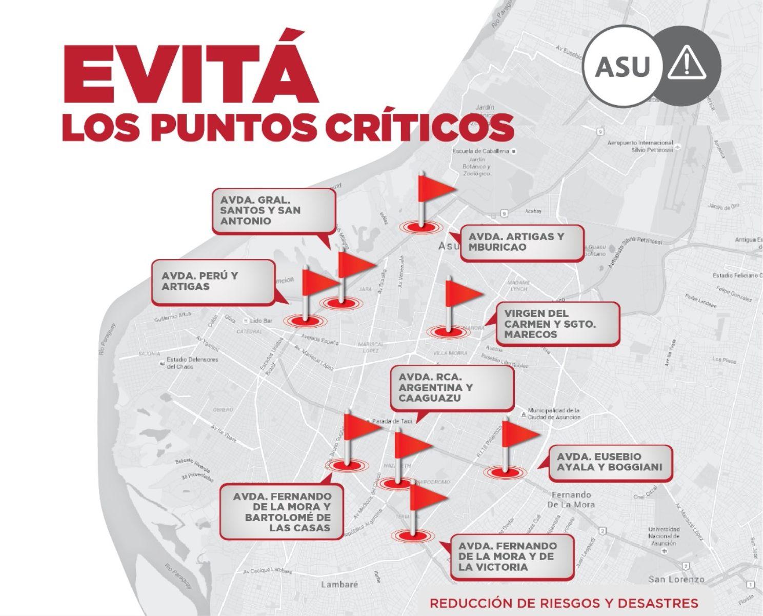 La Comuna de Asunción presentó este mapa de los puntos críticos que se deben evitar  en los días de lluvias, pues se forman raudales.
