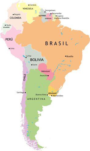 Mapa De Sudamerica Paises.Paises De America Del Sur Escolar Abc Color
