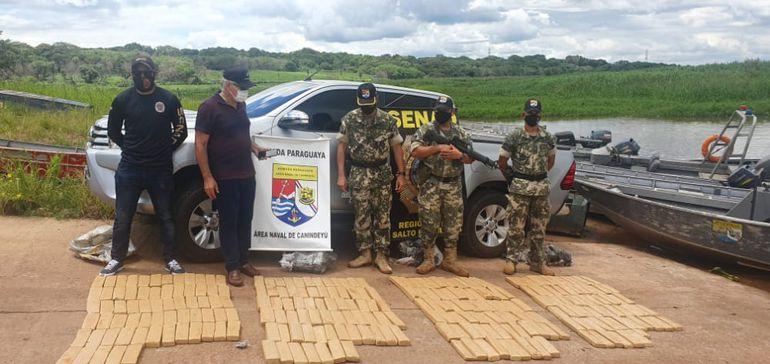 Militares encontraron 149 kilos de marihuana en Puerto Tigre.