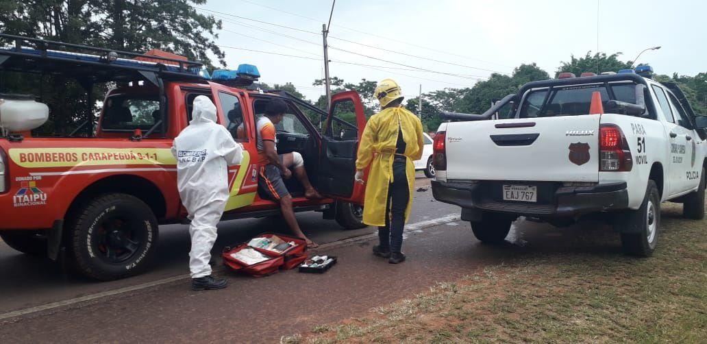 Los heridos fueron asistidos por los bomberos voluntarios de Carapeguá y trasladados al Hospital local.