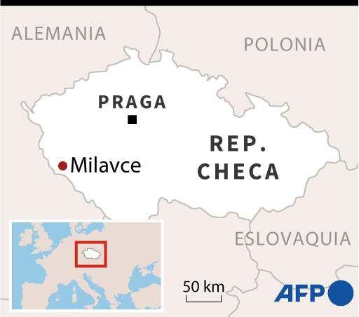 Mapa de la República Checa en el se localiza el municipio de Milavce, en el oeste del país.