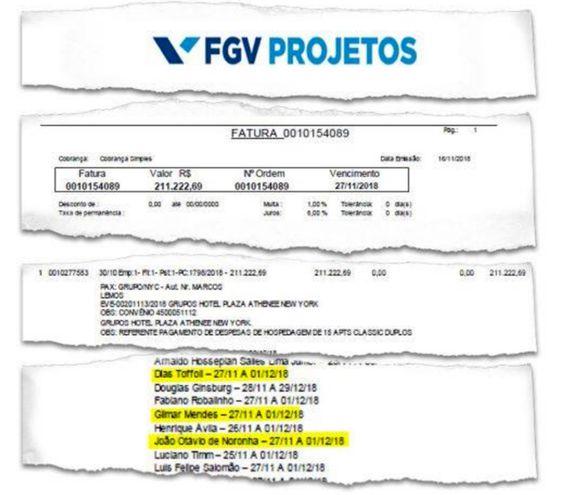 Documento publicado por la revista Crusoé respecto a la reserva en un lujoso hotel de Nueva York para ministros de cortes judiciales brasileñas.