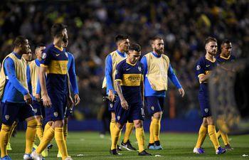 Los jugadores de Boca Juniors luego de quedar eliminados de la Copa Libertadores.