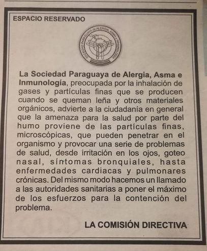 Espacio reservado de Sociedad Paraguaya de Alergia, Asa e Inmunología.