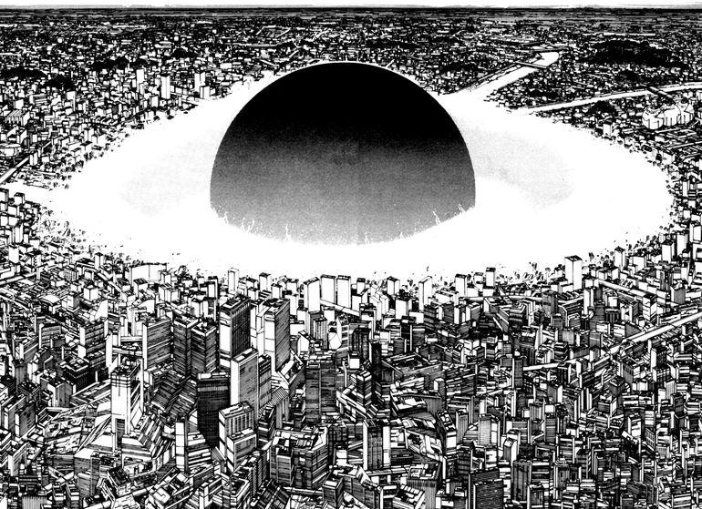 """La explosión que destruye Tokio en 1982 en el universo de """"Akira""""."""